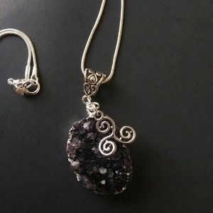 Amethyst Geode Sterling Silver Necklace